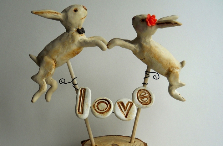 Rustic bunny wedding cake topper