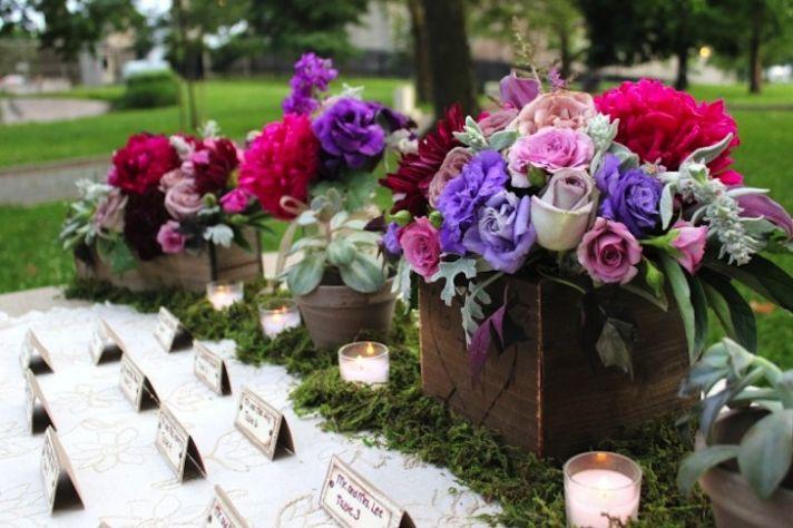 Rustic romantic wedding flower centerpieces