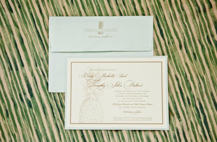 Pastel aqua ivory and gold wedding invitations