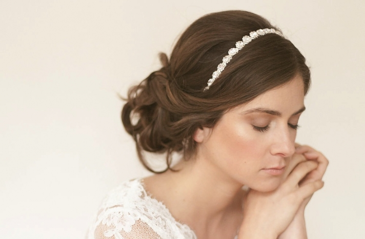 Simple wedding updo with rhinestone headband