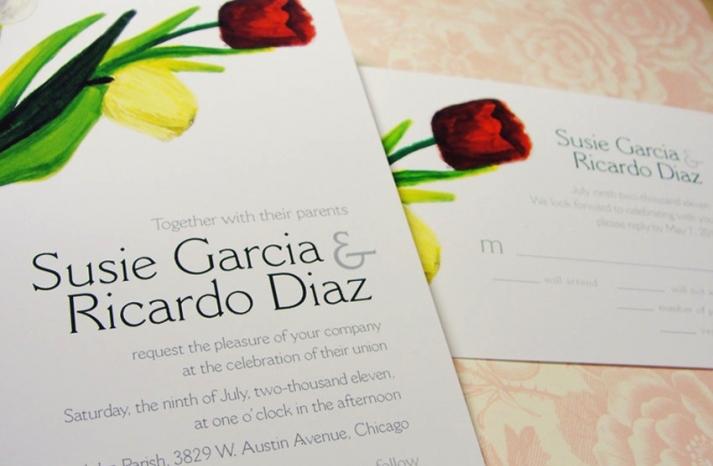 Watercolor spring wedding invitations with tulip design