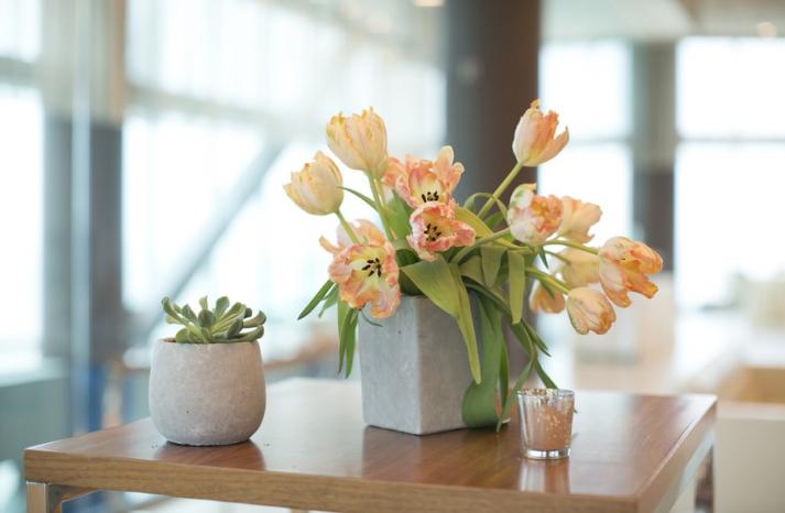 Simple romantic tulip wedding centerpiece