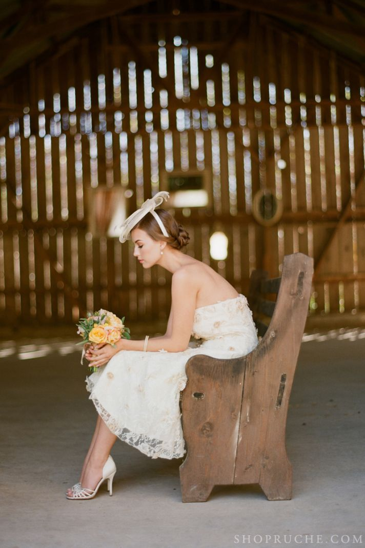 Bridal Separates from Ruche with a Rustic Barn Backdrop