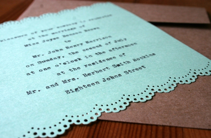 Mint typewriter style wedding invitation