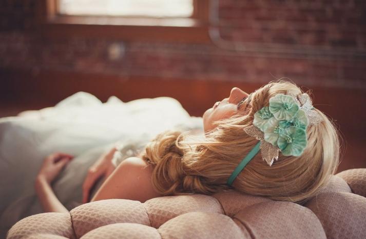 Vintage mint headband for bridesmaids