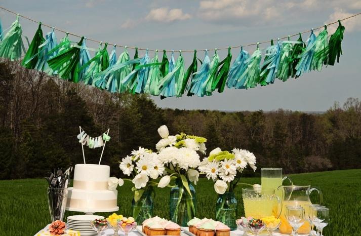 Mint aqua and emerald wedding tassels backdrop