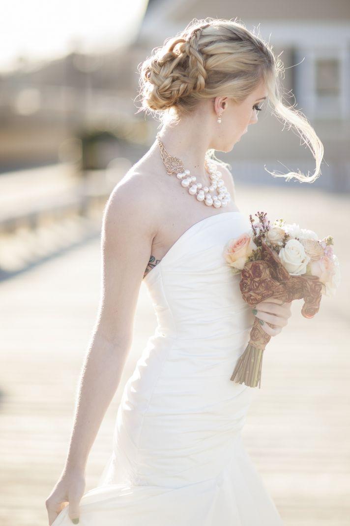 Romantic braided wedding updo bridal hairstyles