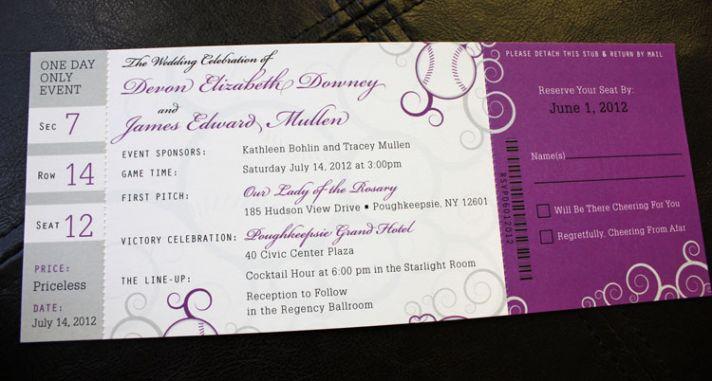 Purple Gray Swirl Baseball Ticket Wedding Invitations1