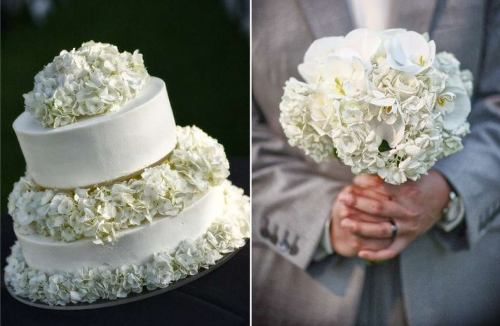 Hydrangea bridal bouquet and classic wedding cake