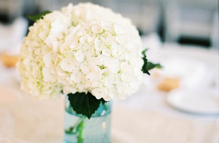 White hydrangea wedding centerpiece in blue mason jar