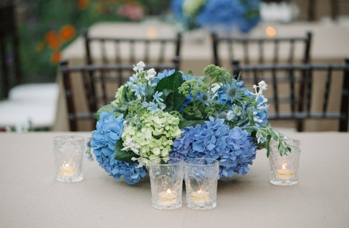 Blue green romantic wedding centerpiece hydrangeas