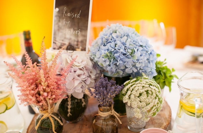 Welcome table at wedding reception romantic hydrangea fllowers