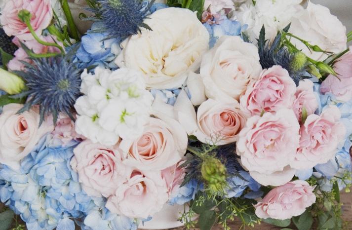 Romantic pastel wedding flowers with hydrangeas