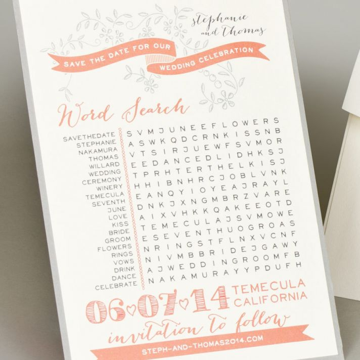Word Search Wedding Save the Date