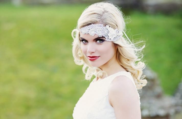 Tulle beaded wedding head wrap vintage inspired