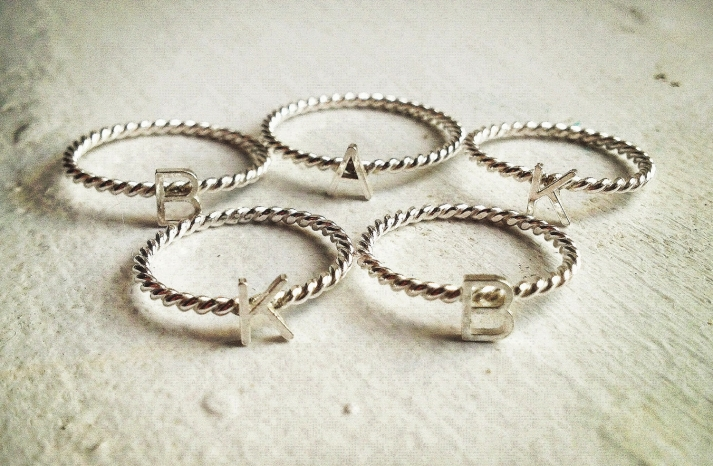 Mothers Day gift ideas initials stacking rings