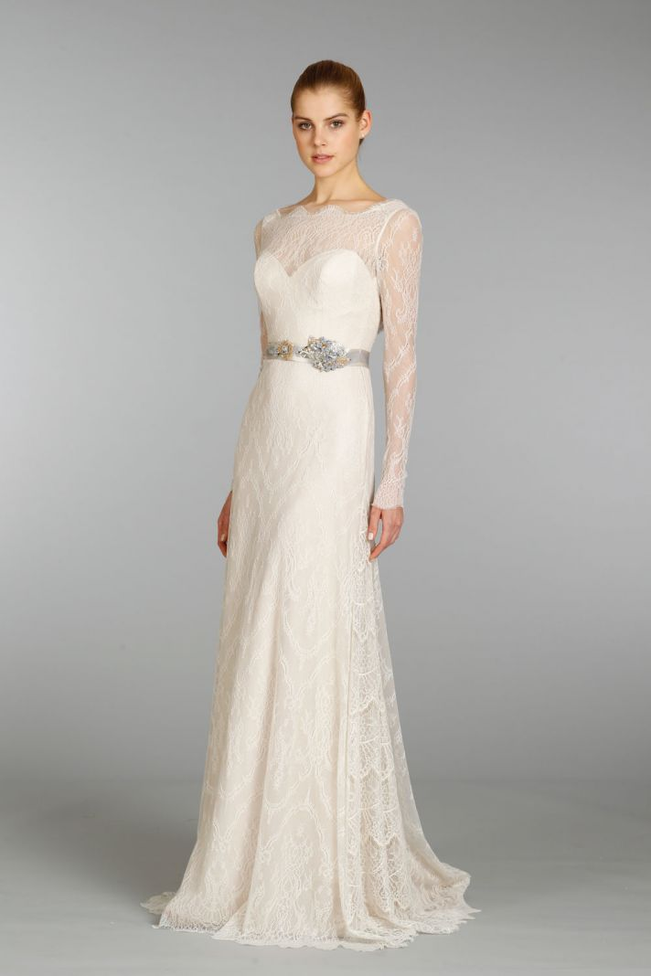 15 beautiful new wedding dresses by lazaro onewed for Dresses for a fall wedding