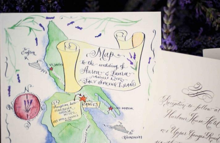 Lavender adorned custom wedding maps