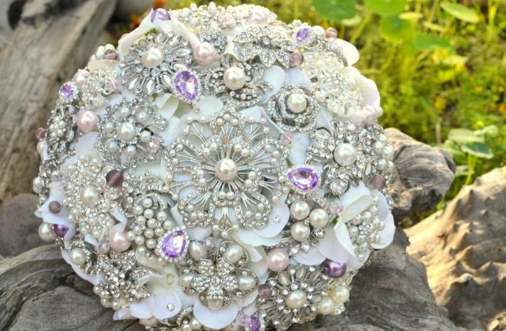 Ivory pearl silver lavender wedding bouquet alternative