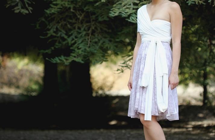 Lavender and white wrap bridesmaid dress