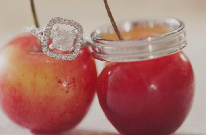 unique engagement ring wedding band shot cherries