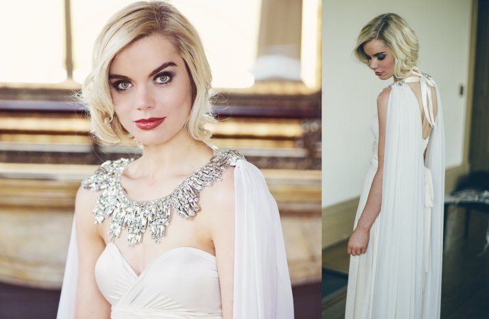 statement wedding cape with crystals