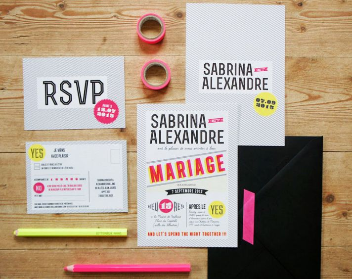 modern graphic neon wedding invitations via Oh So Beautiful Paper