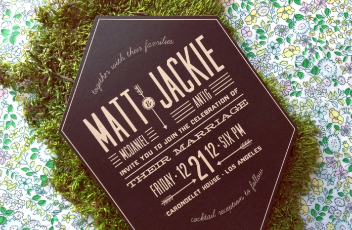 Retro chocolate brown cream wedding invites