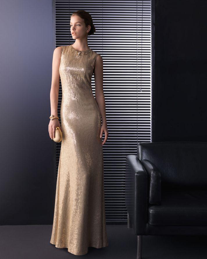 Gold sheath wedding guest dress