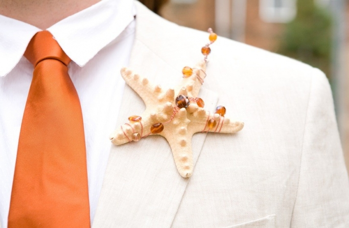 Starfish grooms boutonniere