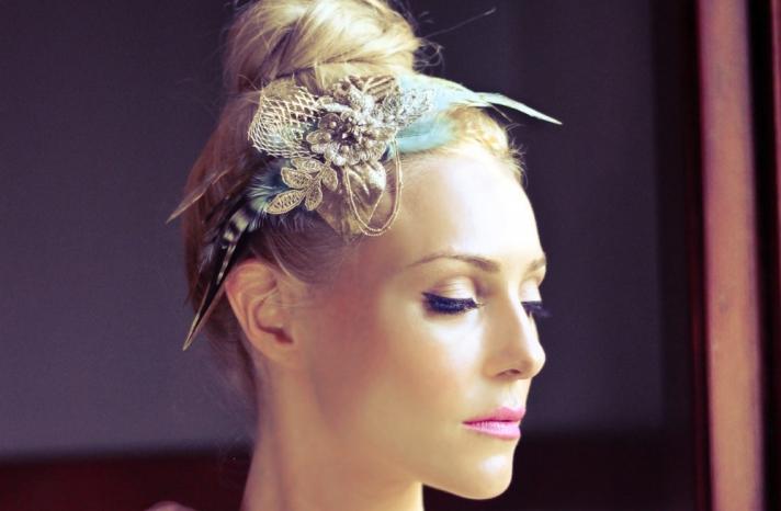 silver and blue wedding headpiece
