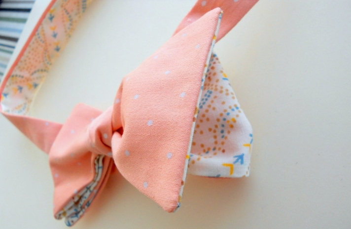 Peach and ivory grooms bow tie