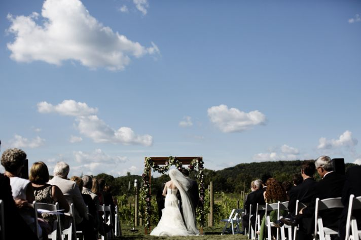 Wedding ceremony at winery in IL