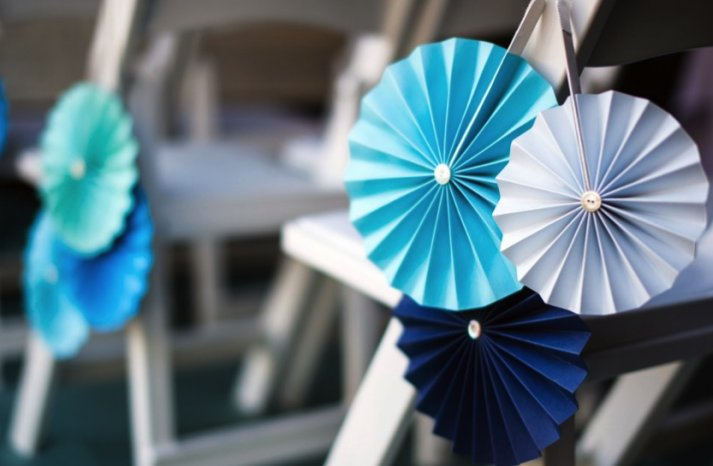 Shades of Blue accordian wedding chair decor