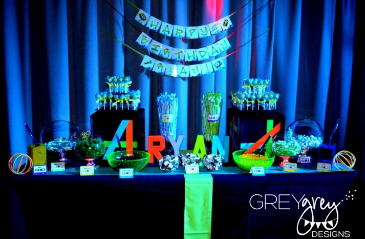 Glow in the Dark wedding sweets table