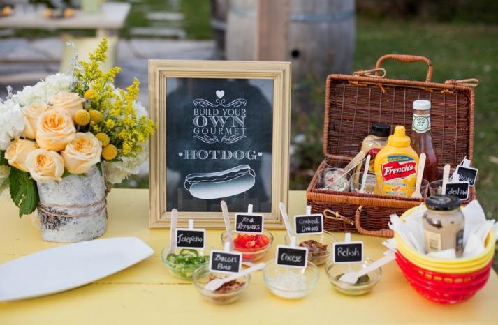 Build your own hotdog wedding reception food