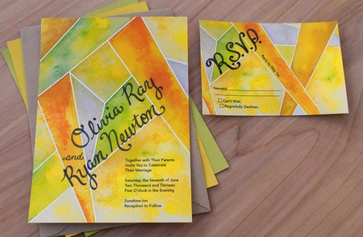 citrus modern wedding invitations