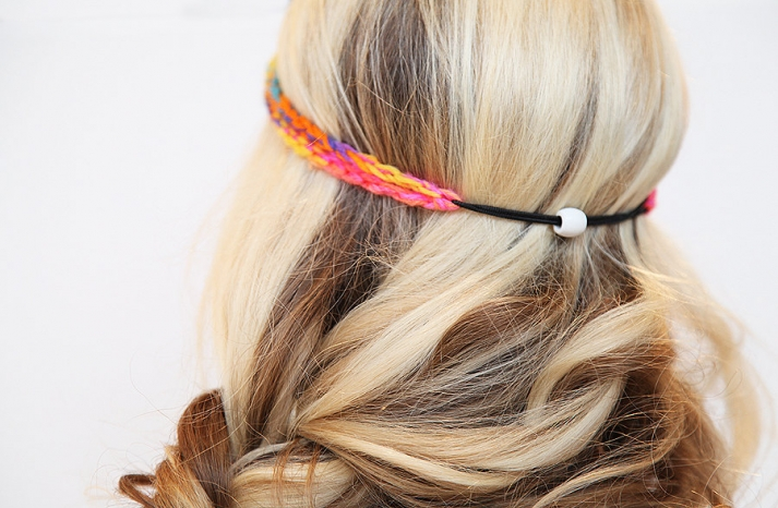 Neon rainbow elastic wedding headband