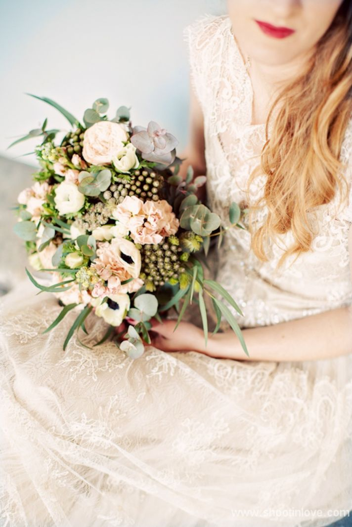 Romantic peach ivory green black wedding bouquet