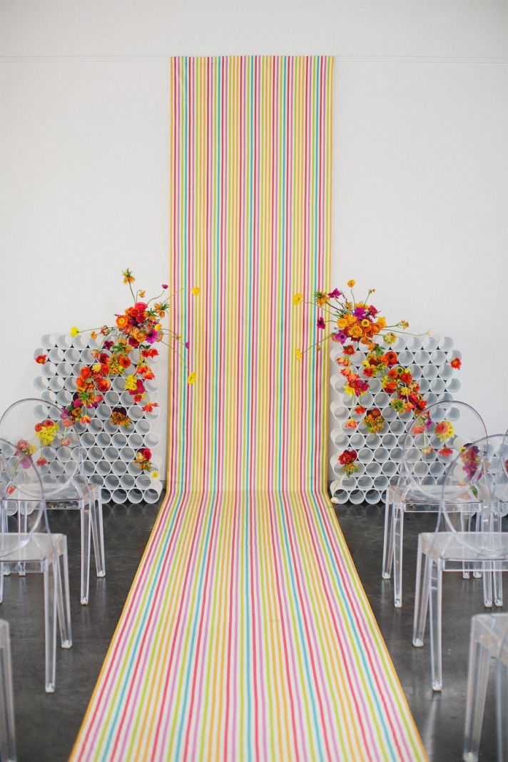 neon rainbow modern wedding backdrop