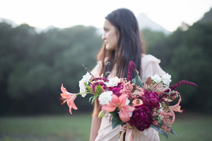 coral asiatic lily wedding bouquet