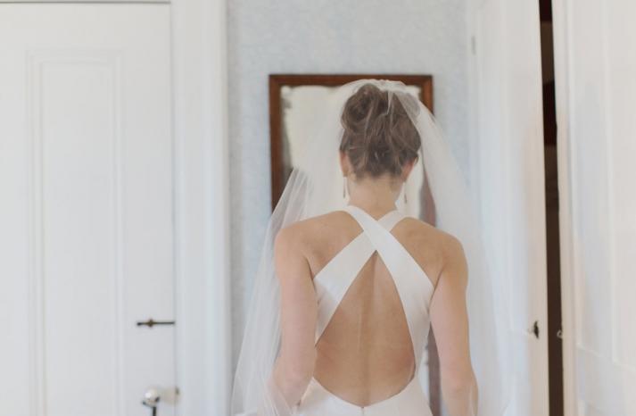 criss cross open back wedding dress