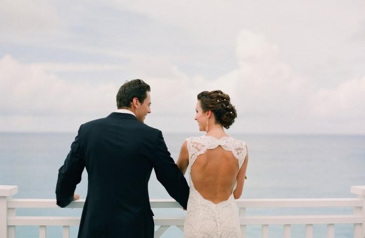 lace open back wedding dress by Monique Lhuillier