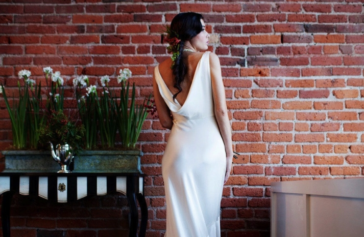 K Besset inspired cowl back wedding dress