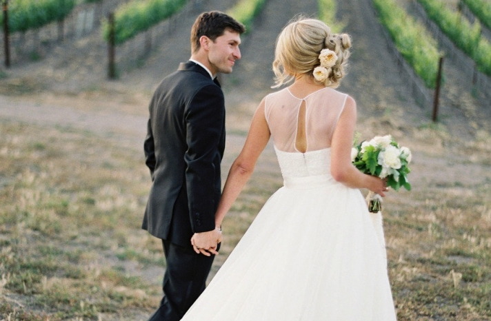 Sheer back keyhole tulle wedding gown