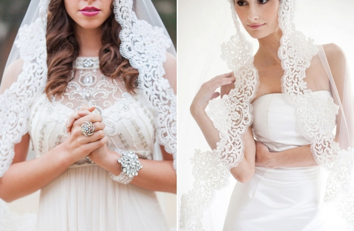 Romantic lace trimmed bridal veil mantilla style