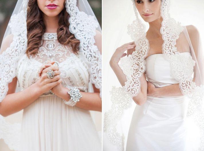 Romantic lace trimmed bridal veil mantilla style