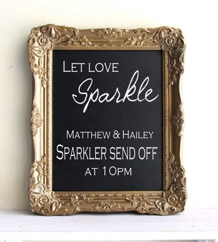 Let Love Sparkle wedding reception sign