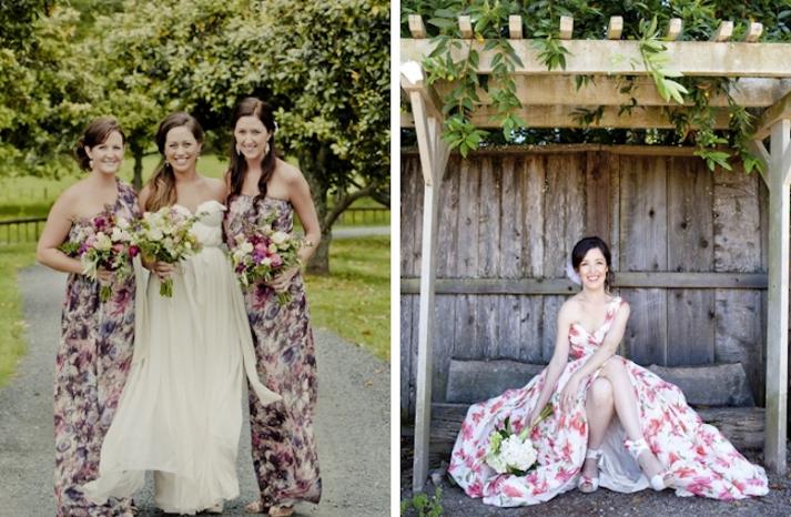 romantic floral print bridesmaid gowns long