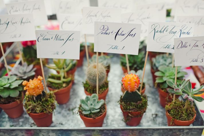 potted plant wedding favors double as escort cards